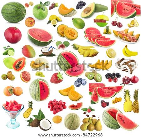 Collage of many fresh fruits - stock photo