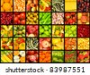 Collage of many fruits and vegetables - stock photo