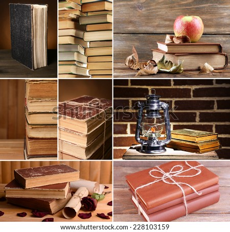 Collage of many old books - stock photo