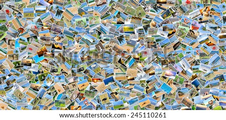 Collage of many photos (animal, landscape, tropic) - stock photo
