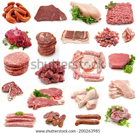 Collage of meat and sausage - stock photo