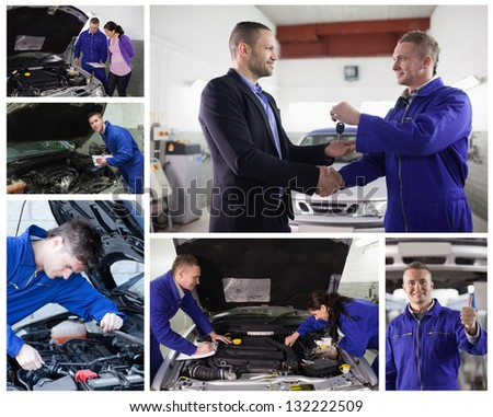 Collage of mechanics in the garage at work with happy customer - stock photo