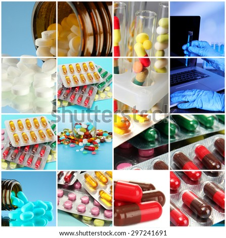 Collage of medical elements in laboratory