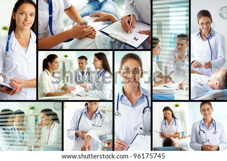 Collage of medical staff working with patient, filling the blanks and carrying out examination - stock photo