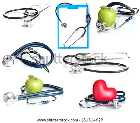 Collage of medical stethoscope isolated on white - stock photo