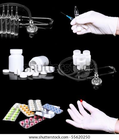 Collage of medicine- pills bottle,infusion set, hands with syringe syringes. On black background - stock photo