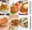 Collage of Middle Eastern food. Includes lahmacun, meatballs, stuffed tomatoes, rice with lentils, braised chicken, tajine - stock photo