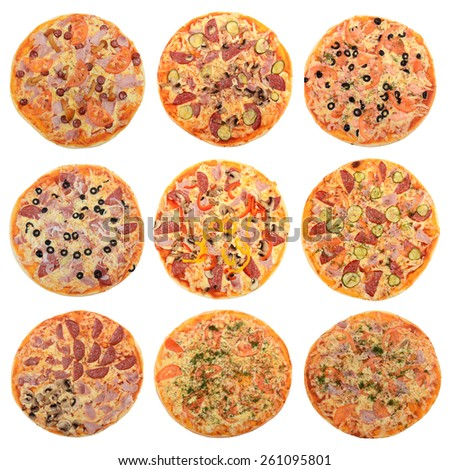Collage of mixed pizza from top on white  - stock photo