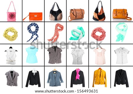 Collage of modern clothes and accessories - stock photo