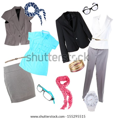 Collage of modern clothes and accessories isolated on white - stock photo
