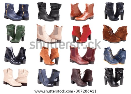 collage of modern fashionable women boots shot in studio, isolated on white - stock photo