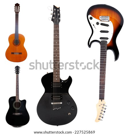 Collage of modern guitar - stock photo