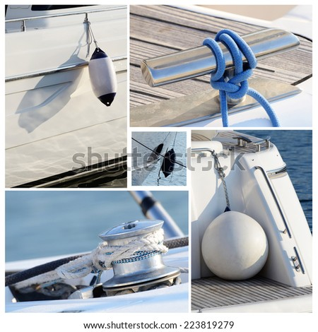 Collage of modern sailing boat stuff - winches, boat fenders,ropes and snatch cleats all photos are my own - stock photo