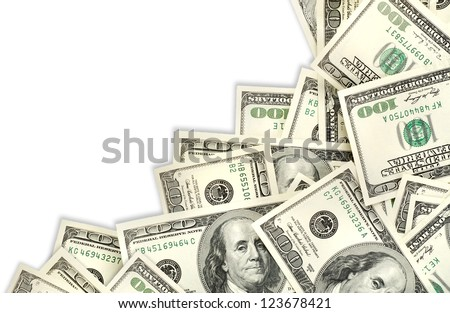 Collage of money isolated on a white background
