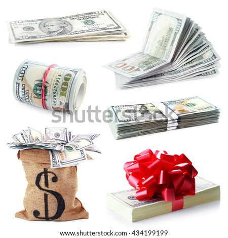 Collage of money isolated on white - stock photo