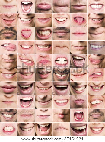 Collage of mouths with different expressions - stock photo