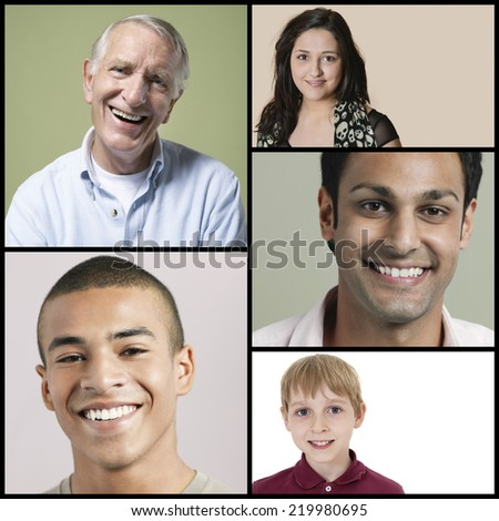 Collage of multi-ethnic people smiling - stock photo