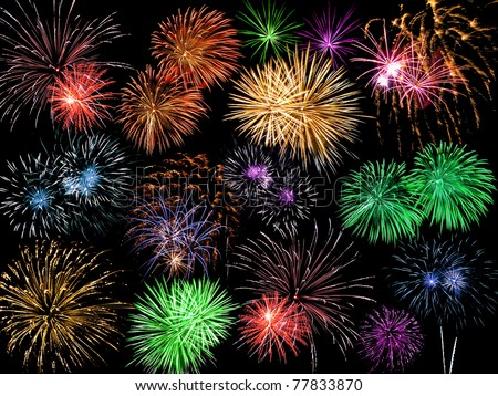 Collage of Multicolored Fireworks Against a Black Sky - stock photo
