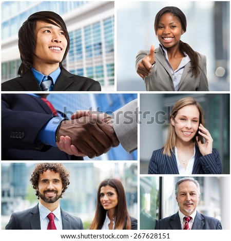 Collage of multiethnic business people - stock photo