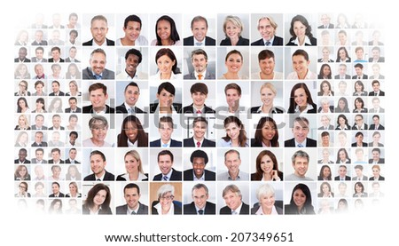 Collage of multiethnic business people over white background - stock photo