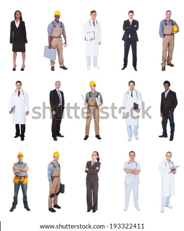 Collage of multiethnic people with various occupations standing against white background - stock photo