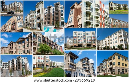 Collage of multiple apartment buildings - stock photo