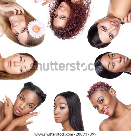 Collage of multiple beauty portraits of women with various skin tones and hair