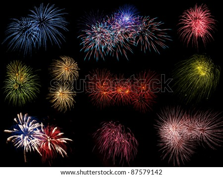 Collage of multiple huge fireworks exploding in the night sky - stock photo