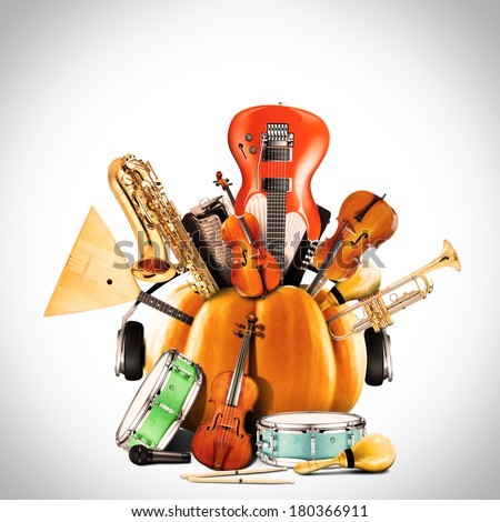 Collage of music, jazz band and musical instruments - stock photo
