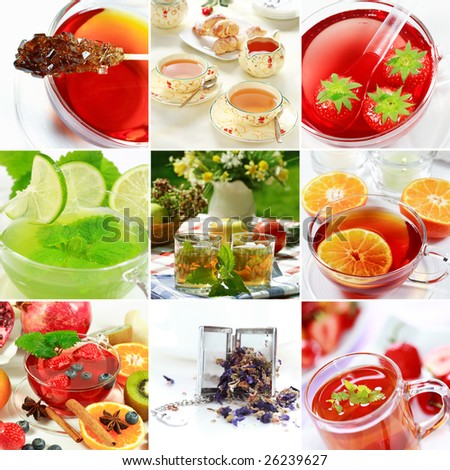 Collage of natural herbal tea with fruits - stock photo