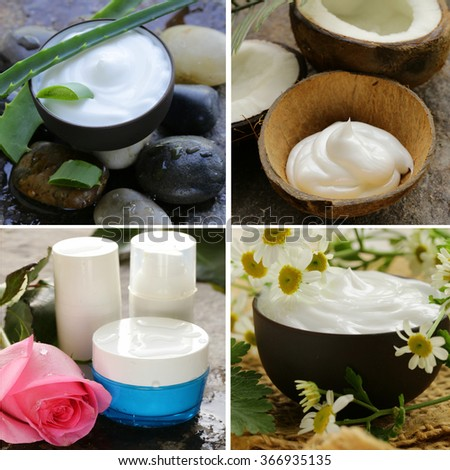 collage of natural organic cosmetics lotion  - stock photo