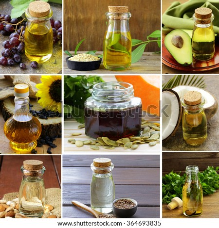 collage of natural organic oils from nuts and seeds, avocados, grapes and coconut