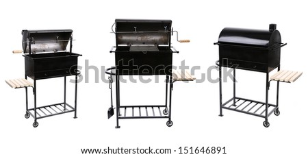 Collage of new black barbecue. - stock photo