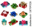 Collage of Nine colorful presents - stock photo