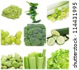 collage of nine different green food, as guacamole, peppers, leeks, grapes, broccoli, zucchini, broad beans, celery and escarole endive - stock photo