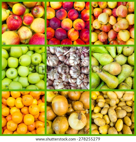 collage of nine fruit and vegetable backgrounds - stock photo