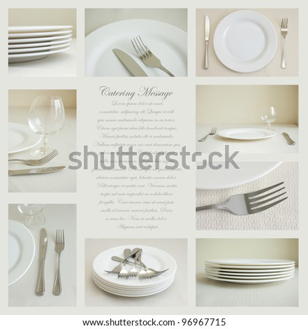 Collage of nine images of tableware with white dishes and silverware - stock photo