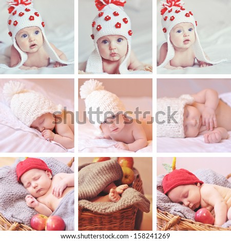 Collage of nine images with babies and knitted things indoors - stock photo