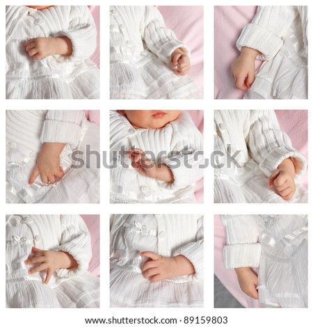 Collage of nine photo of baby hands. - stock photo