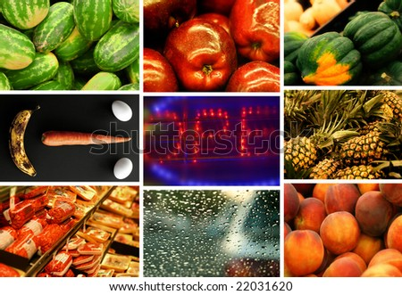 Collage of nine photos illustrating a trip to the supermarket - stock photo