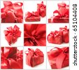 Collage of nine still life with red gifts on white background. - stock photo