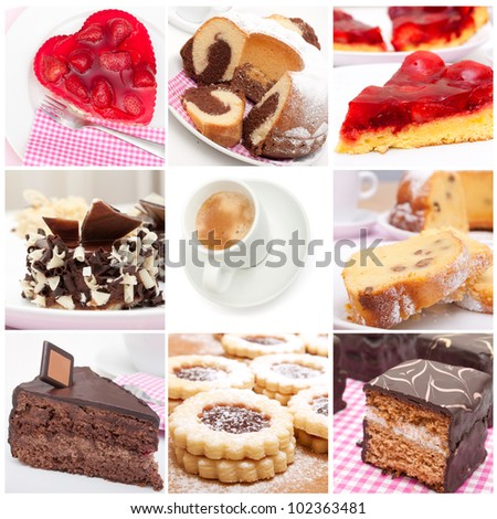 Collage of Nine Various Pies, Dessert and Cakes and Espresso Coffee - stock photo