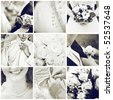 collage of nine wedding photos - stock photo