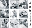 Collage of nine wedding photos in gentle - blue tone - stock photo