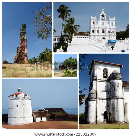 Collage of North and South Goa state popular travel destinations,India  - Panaji,Old Goa, Candolim beach,Aguada fort (all photos are my own) - stock photo