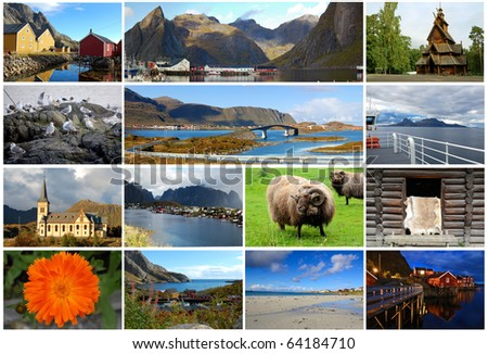 Collage of norwegian postcard - stock photo