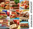Collage of nutritious and colorful  mouthwatering sandwiches. - stock photo