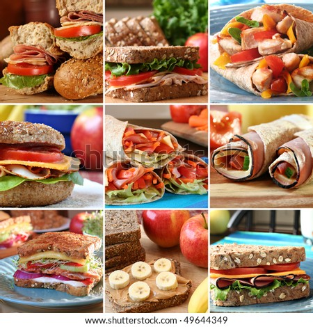 Collage of nutritious and colorful  mouthwatering sandwiches.