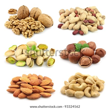 Collage of nuts: walnuts,filbert,peanut,almonds,pistachios,cashew - stock photo