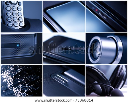 Collage of office equipment images - stock photo
